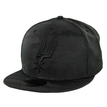 New Era 9Fifty San Antonio Spurs Blackout Camo Play Snapback Hat Black