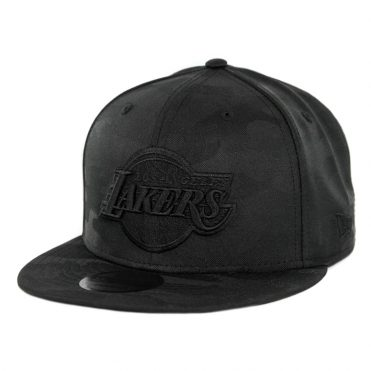 New Era 9Fifty Los Angeles Lakers Blackout Camo Play Snapback Hat Black