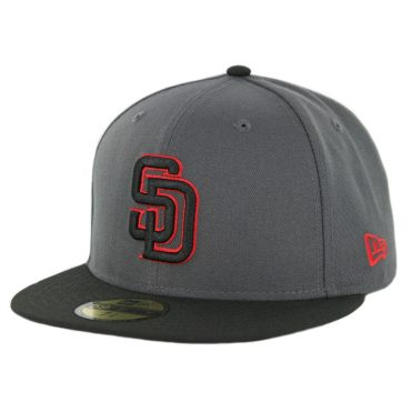 New Era 59Fifty San Diego Padres Fitted Hat Graphite Black Red