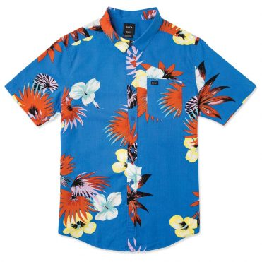 RVCA Romeo Floral Button-Up Shirt Royal