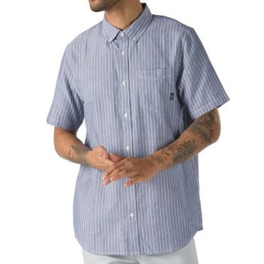 Vans Houser Buttondown Shirt Dress Blues Micro Stripe