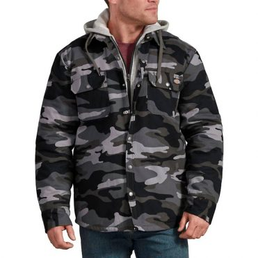 Dickies TJ203 Hooded Duck Quilted Jacket Slate Gray Camo