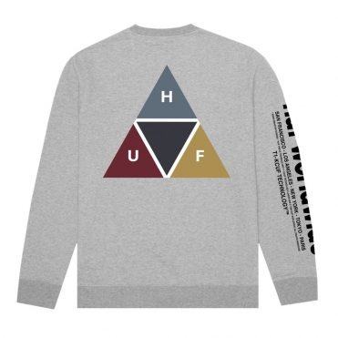 HUF Prism Crew Neck Sweatshirt Grey Heather