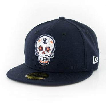 New Era 59Fifty San Diego Padres Sugar Skull Fitted Hat Dark Navy White Orange