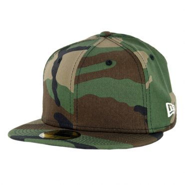 New Era 59Fifty Plain Blank Fitted Hat Woodland Camo