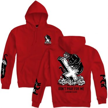 Sketchy Tank Pray Panther Pullover Hooded Sweatshirt Red