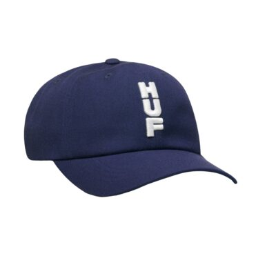 HUF Stacked CV 6 Panel Strapback Hat Dark Navy