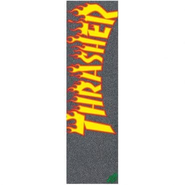 Mob Grip Thrasher YL and OR Flame Griptape Black