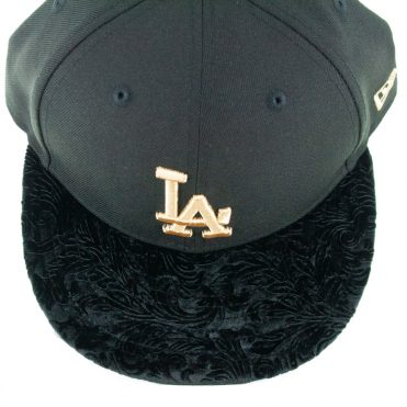 New Era 9Fifty Los Angeles Dodgers Velvet Visor Snapback Hat Black Gold