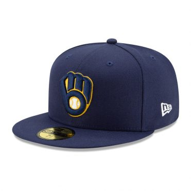 New Era 59Fifty Milwaukee Brewers 2020 Game Authentic Collection On Field Fitted Hat Navy