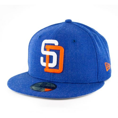 New Era 59Fifty San Diego Padres 91 Heather Crisp 3 Fitted Hat Heather Royal Blue
