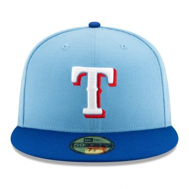New Era 59Fifty Texas Rangers Alternate 2 Authentic Collection On Field Fitted Hat Light Blue
